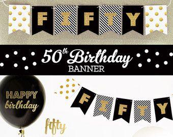 50th birthday banner fifty birthday gold glitter banner