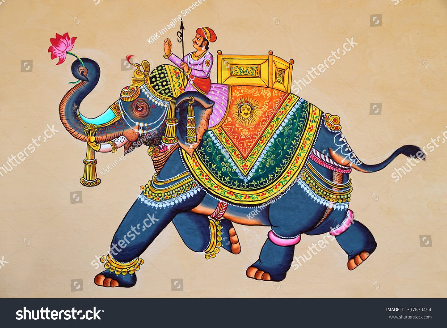 Traditional Indian Or Rajasthani Wall Painting Of Elephant With