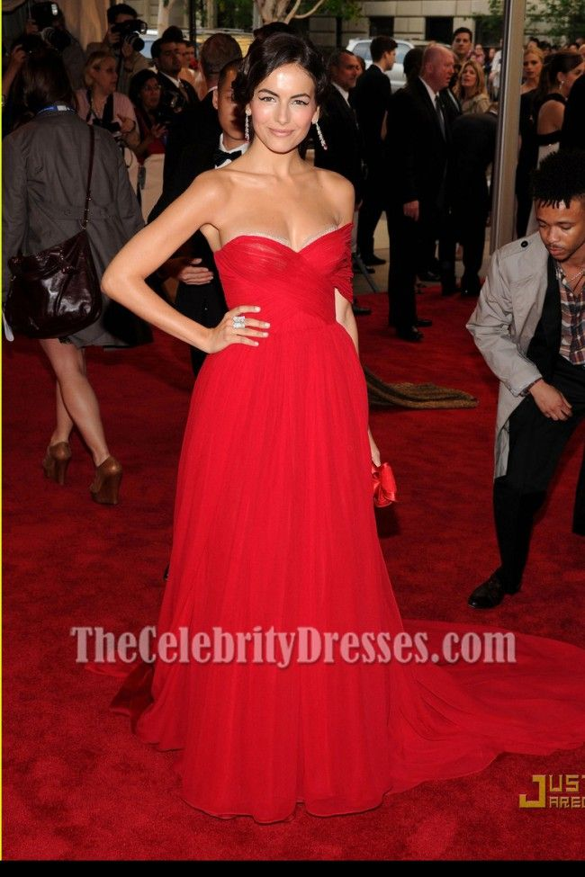 Camilla Belle Strapless Red Chiffon Prom Dress 2010 MET Ball ...