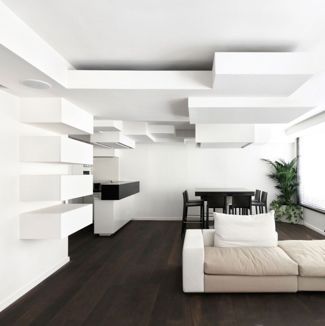 Monochrome Duplex Apartment Remodeling In Paris By Pascal
