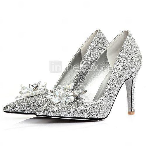 1e274df26f6 Women s Shoes Glitter Stiletto Heel Heels Pointed Toe Flats Wedding Dress  Silver - USD
