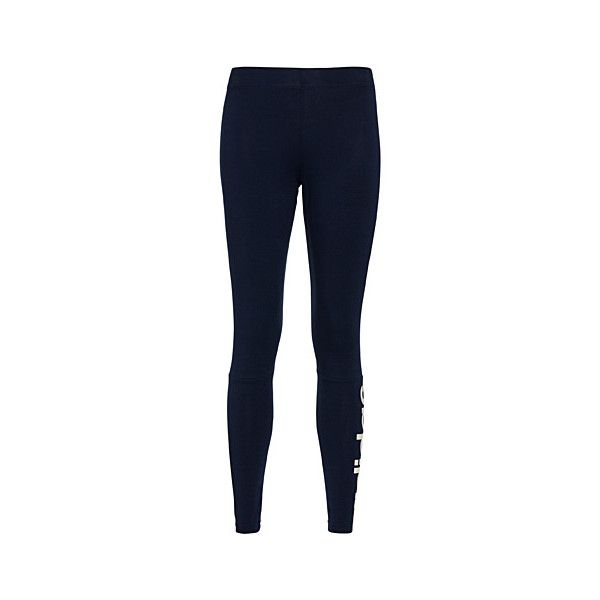 Adidas Essential Linear legging (€35) ❤ liked on Polyvore featuring activewear, activewear pants, adidas activewear, logo sportswear, blue jersey, adidas sportswear and adidas