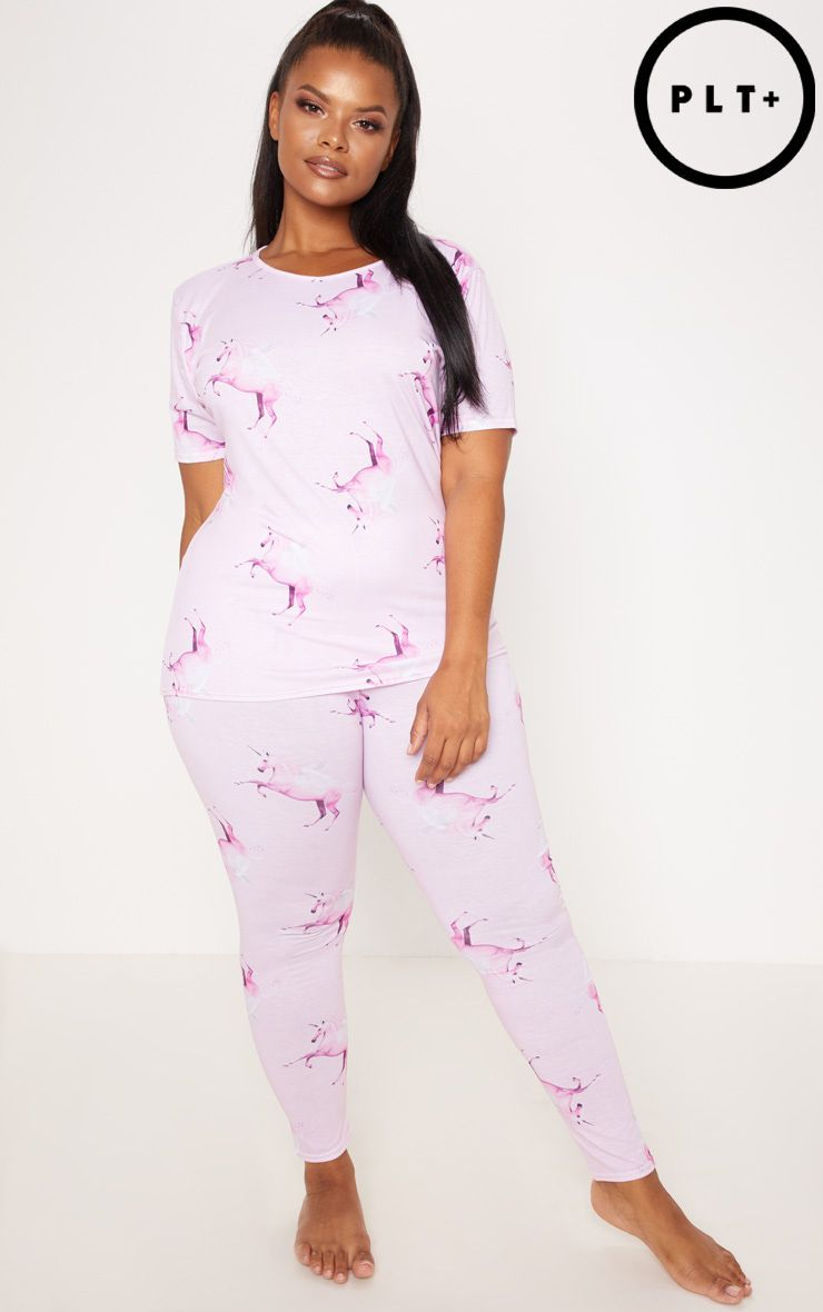 52b73bbd3bc The Prettylittlething Unicorn Plus Pink Unicorn Print Long Pj Se. Head  online and shop this season s range of plus size at PrettyLittleThing.