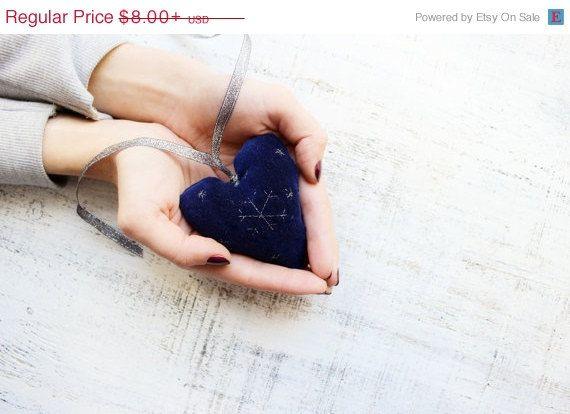 25% SALE Velvet heart ornament rustic by HandyHappyHearts on Etsy