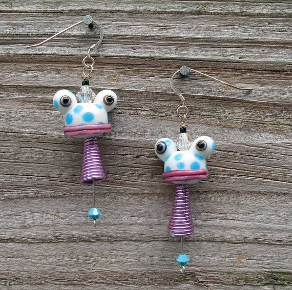 Funky Pink Purple and Turquoise Polkadot Frog Earrings by rushacat, $35.00