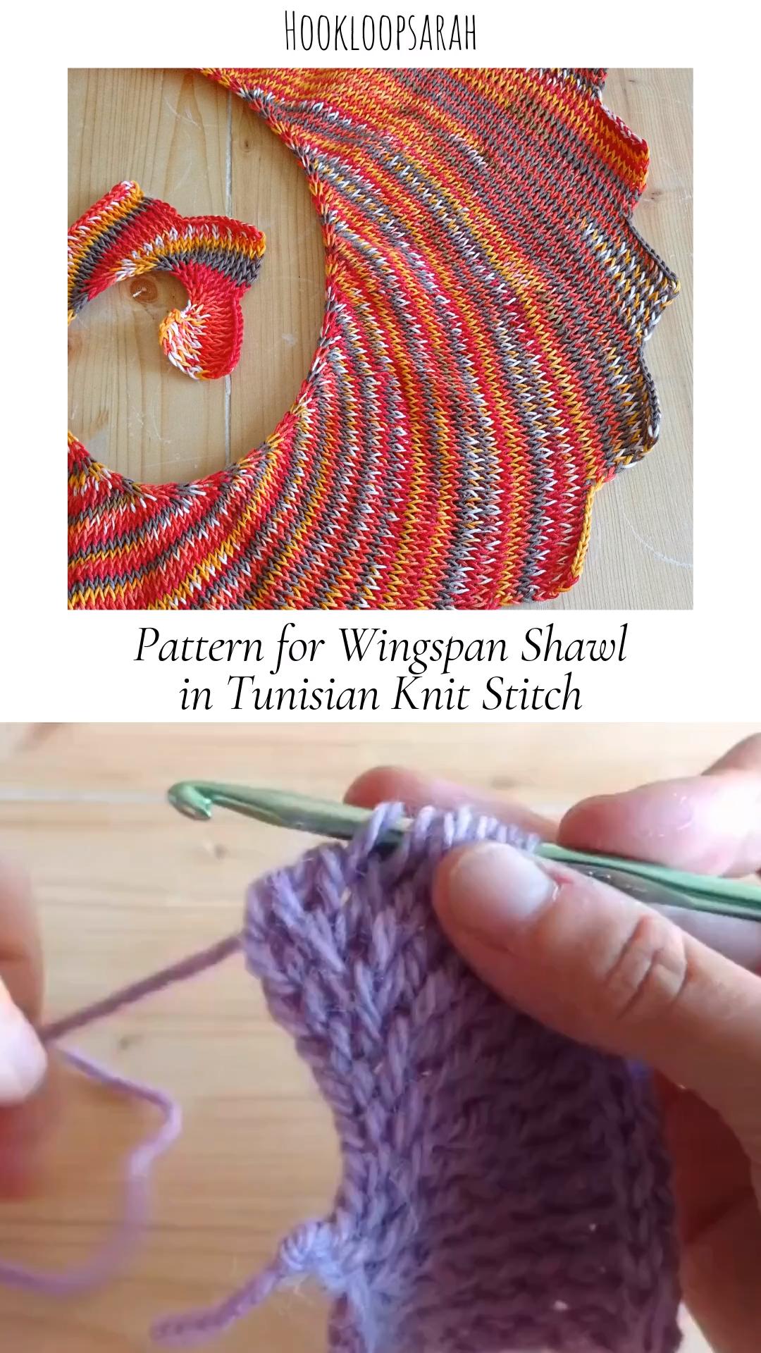Photo of Muster für Dragon Tail Wingspan Shawl im tunesischen Strickstich
