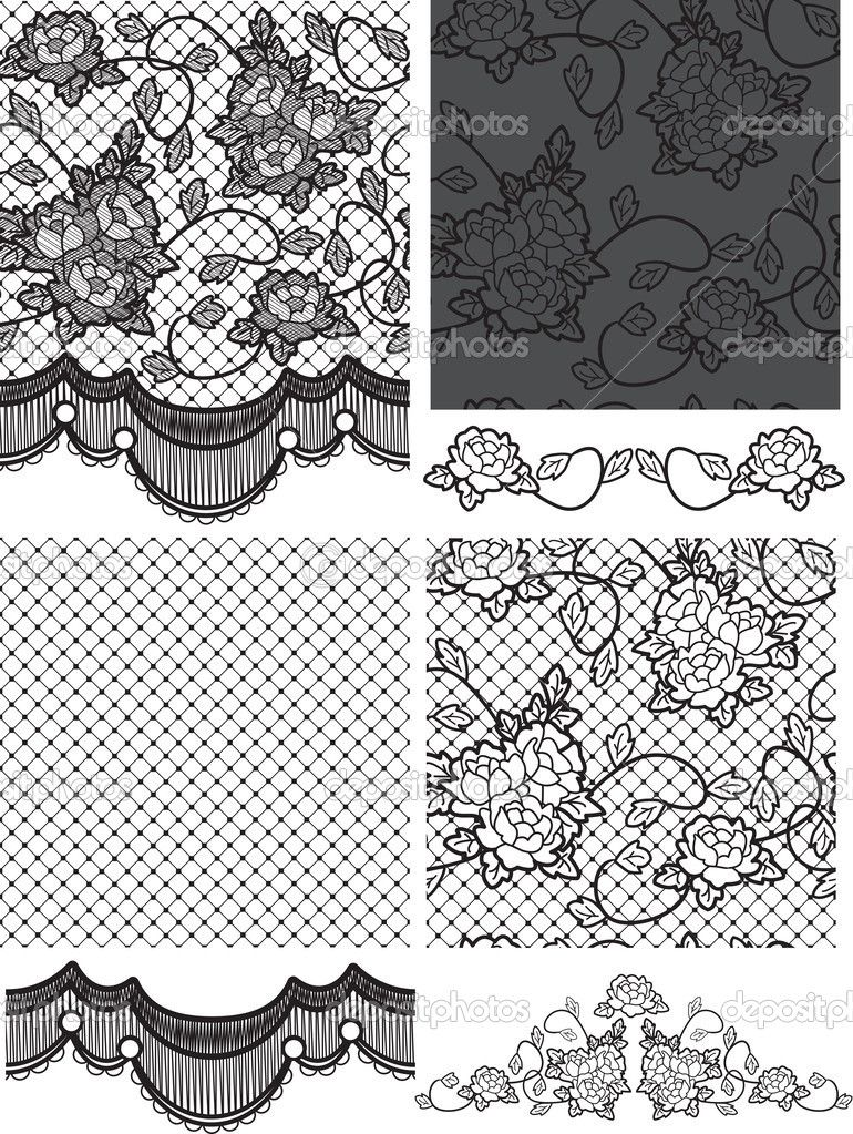 Gothic Style Lace Vector Floral Seamless Patterns Stock Illustration 27560867