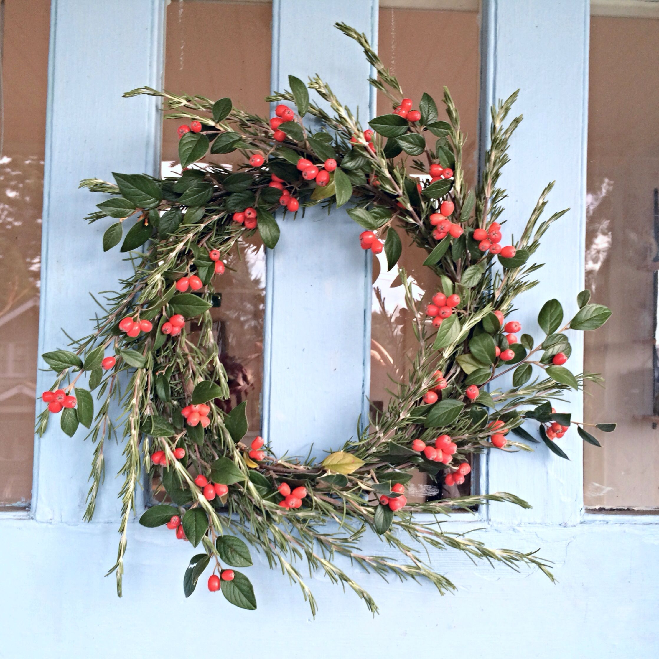 DIY holiday wreath with rosemary from my garden