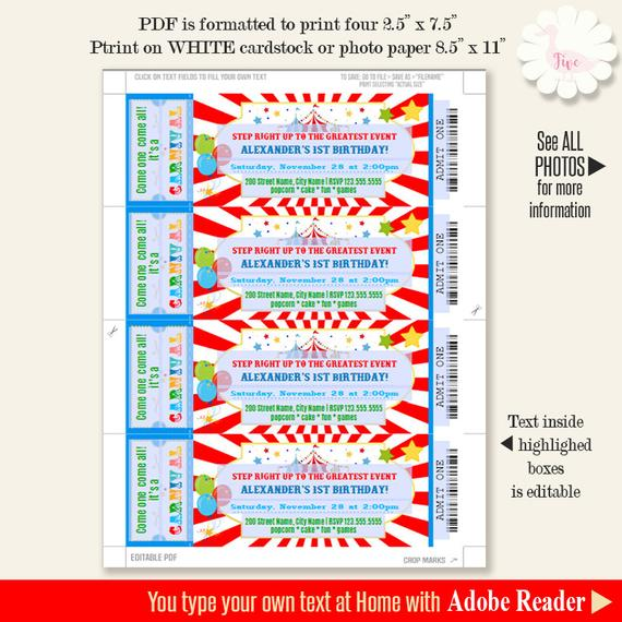 Carnival ticket party invitation, Printable template