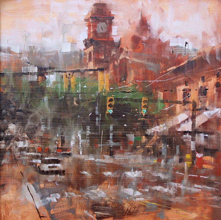 Shockoe ClockTower - plein air by Mark Lague Oil ~ 16 x 16