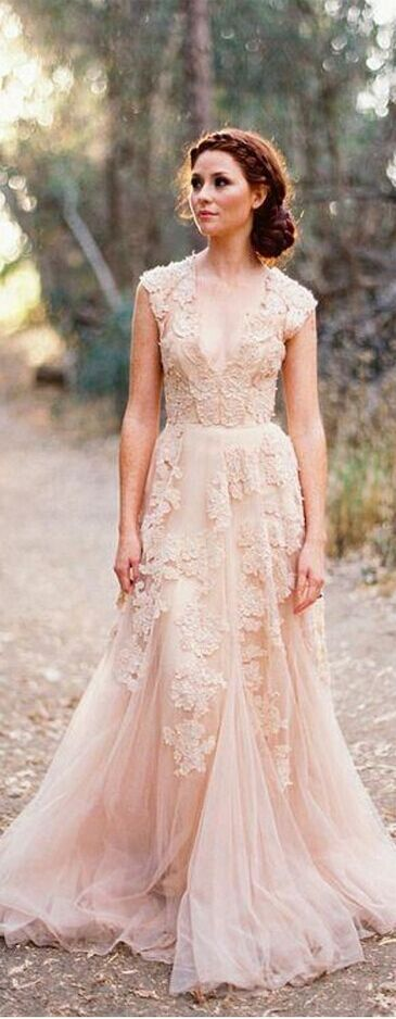 Custom Made V Neck Lace Wedding Dresses 2015 Puffy Bridal Gowns Vintage Country Garden Wedding Dress Champagne Wedding Gowns