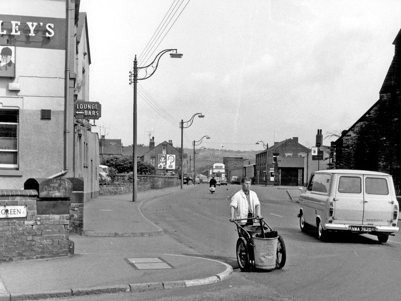 Road Sweeper On Penistone Road At The Junction With Owlerton Green With St John The Baptist Owlerton And Old Crown Inn Righ Road Sweeper Sheffield Pubs Road