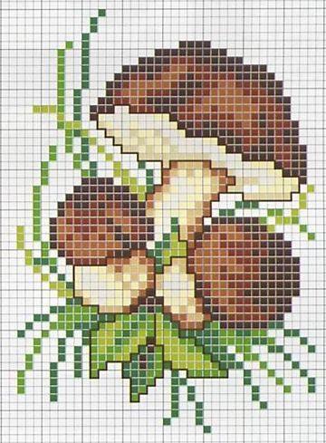 Вышивка крестиком грибы