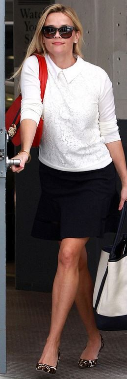 Reese Witherspoon: Red bag and top = Draper James  Shoes – J Crew  Bracelet – Tiffany and Co.  Sunglasses – Stella McCartney