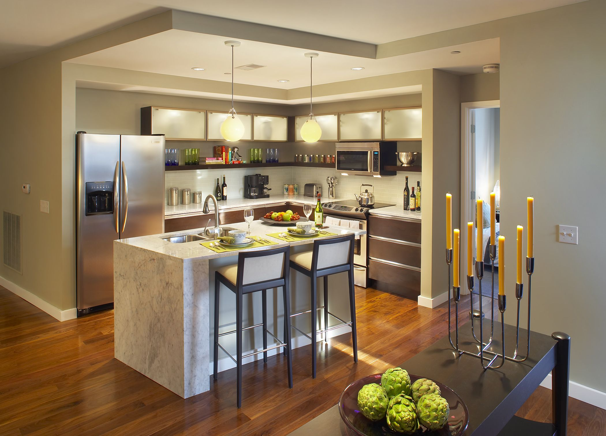 Park Pacific St. Louis, MO | Lawrence Group #interiordesign #STL #kitchen
