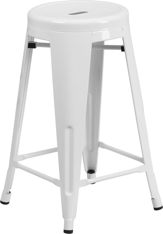 24 High Backless White Metal Indoor Outdoor Counter Height Stool With Round Seat Ch 31350 24 W Metal Counter Stools Counter Height Stools Outdoor Bar Stools