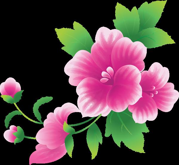 Large Pink Flowers Clipart Kvety, Obrázky, Vyšívanie