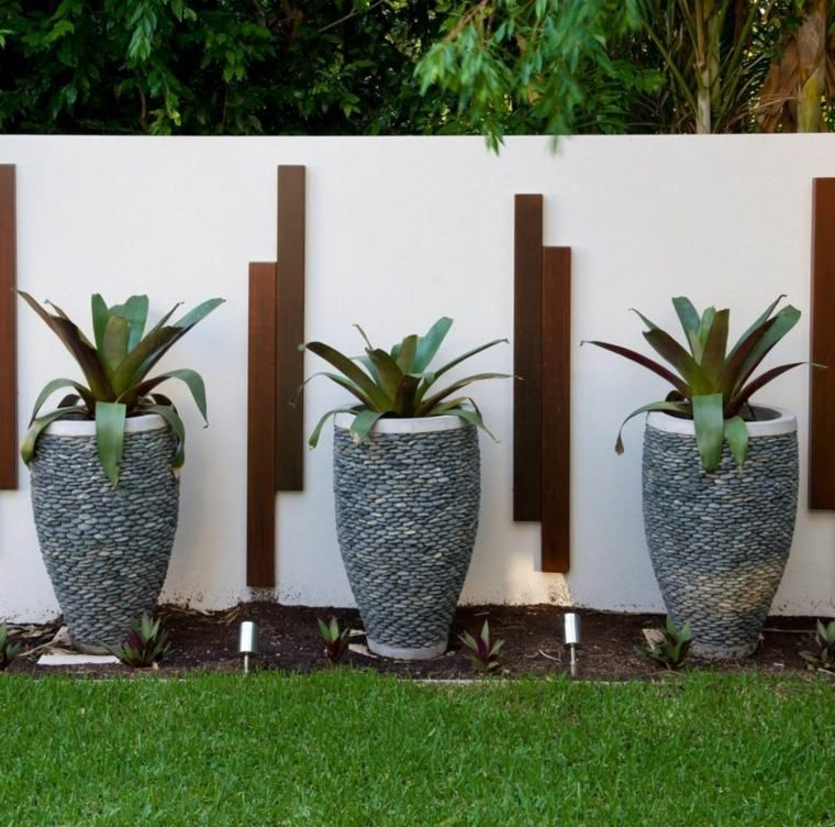 décoration de mur de jardin extérieur avec pot de plante ...