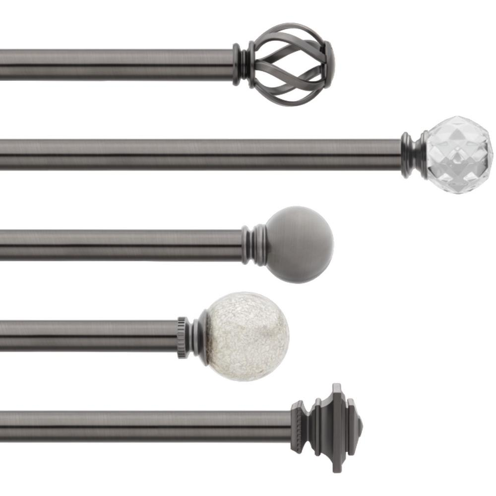 Home Decorators Collection Mix And Match 36 In 72 In Single Curtain Rod In Gunmetal U Gm72fohj07 The Home Depot Single Curtain Rods Curtain Rods Double Rod Curtains