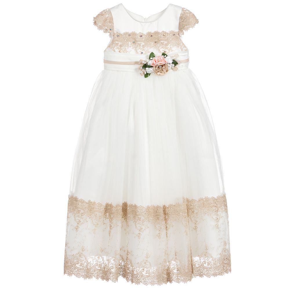 9cd31c80084d Ivory   Gold Tulle Dress for Girl by Romano Princess.