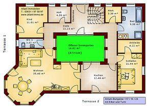 Hauspläne einfamilienhaus neubau  Atrium Bungalow 117 16 24 Grundriss mit Erker und Turm ...