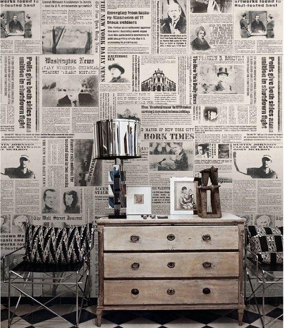 Newspaper Wallpaper New York Times Nostalgic Wall Art Black & White ...