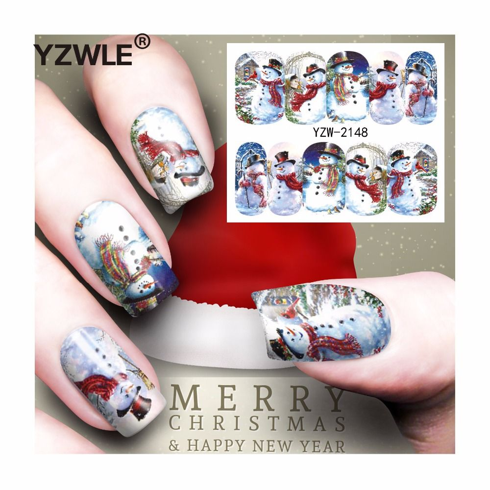 YZWLE  Sheet Christmas Design DIY Decals Nails Art Water Transfer