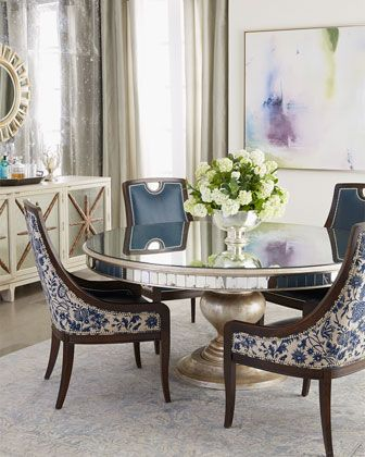 Lisandra Antqiued-Mirrored Round Dining Table Tables, Round dining