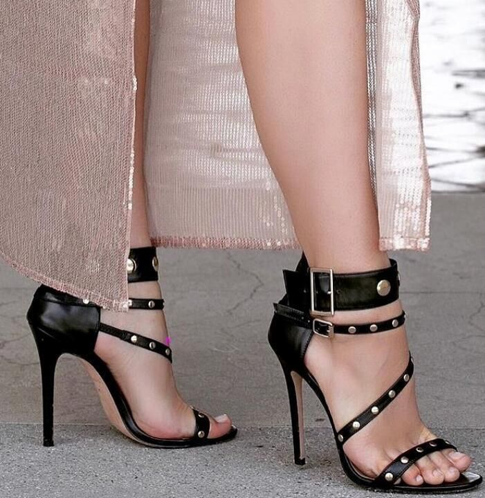 Womens Buckle Strap Sandals High Heel Shoes 6 7 8 9 10  Black