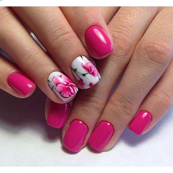 Дизайн ногтей бело-розовый