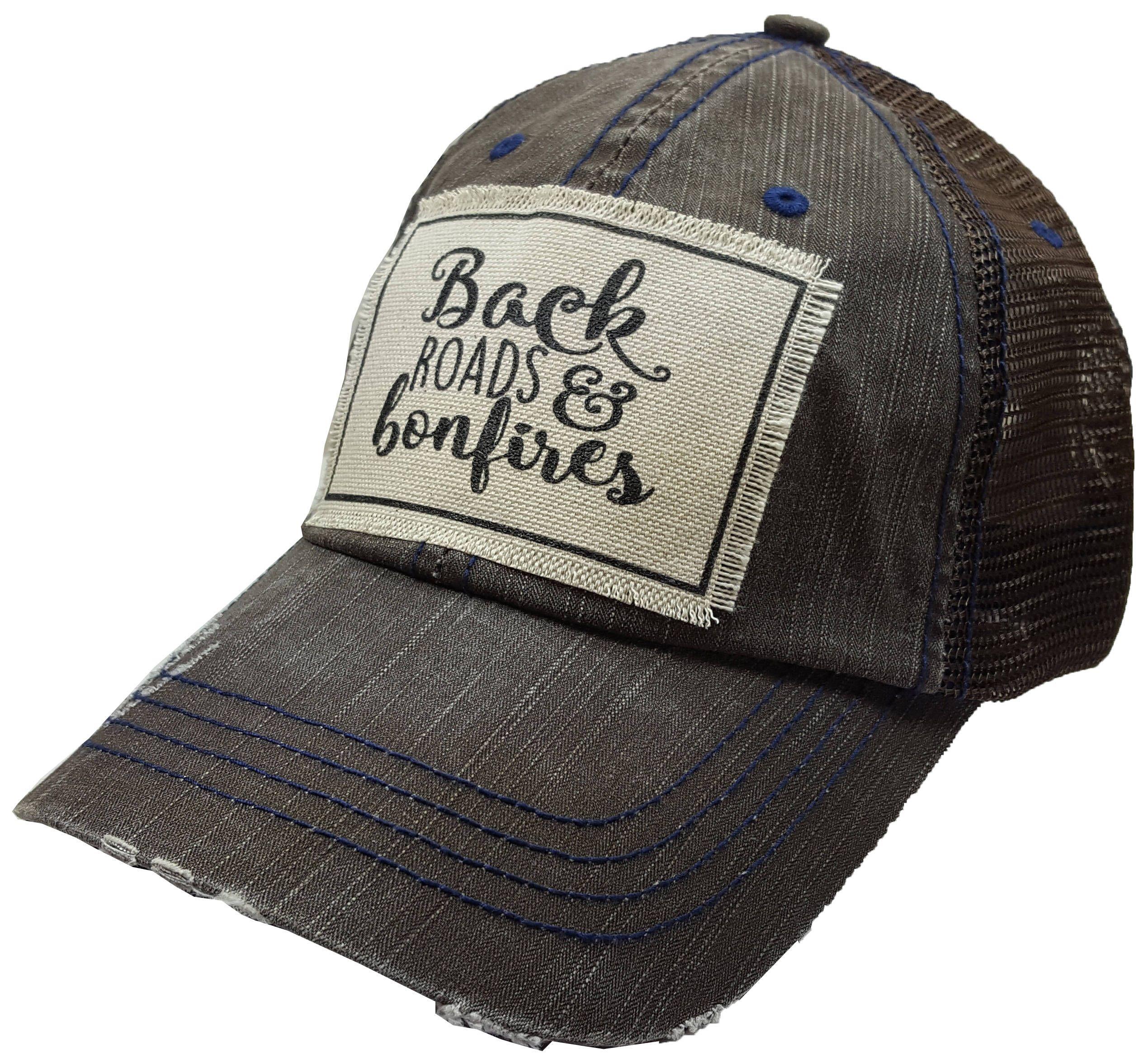 Back Roads Bonfires Distressed Trucker Cap Trucker Cap Etsy In 2021 Womens Hats Baseball Leather Cowboy Hats Womens Baseball Cap