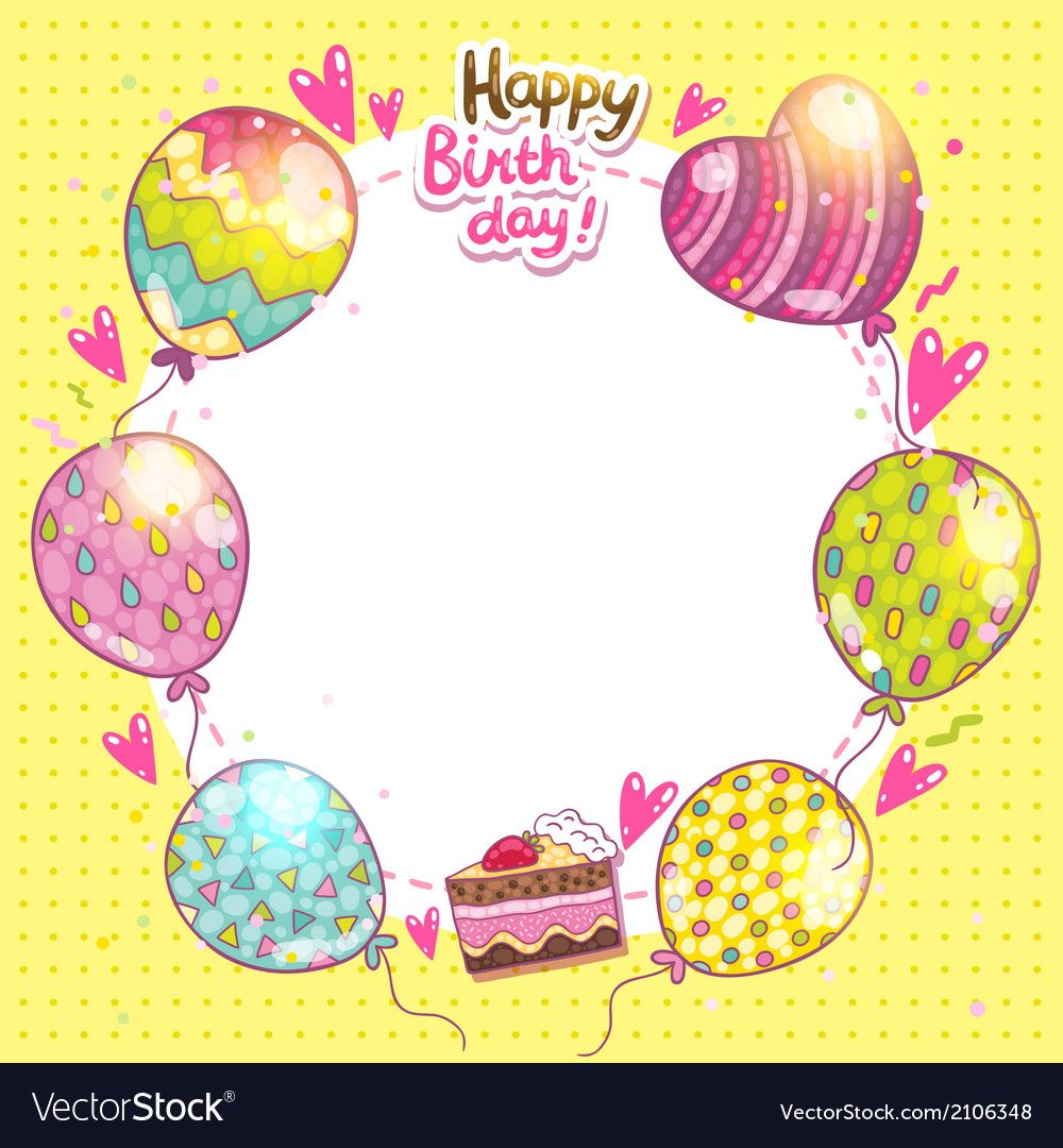Happy Birthday Background With Cake And Balloons Vector Image On