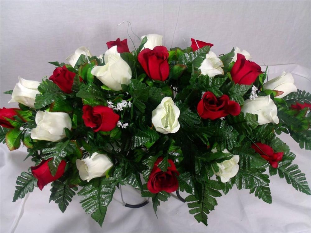 Beautiful Red & White Roses Silk Flower Cemetery Tombstone