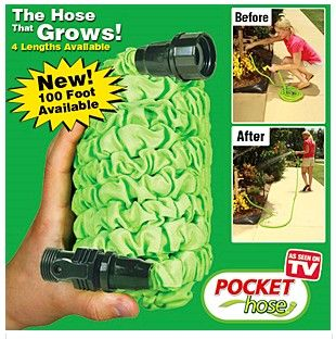 Pocket Hose™ grows from the palm of your hand to 25, 50, 75, or 100 Feet. Forget tangled, heavy hoses. With the Pocket Hose™ you have a lightweight solution that shrinks for easy storage and expands 3X when you turn on the water. No more kinks or wasted time coiling traditional hoses. Just shut off the water and it automatically returns to its miniature size.  Get your rebate from RebateBlast.
