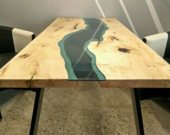 Sold Live Edge River Coffee Table With Red Epoxy By