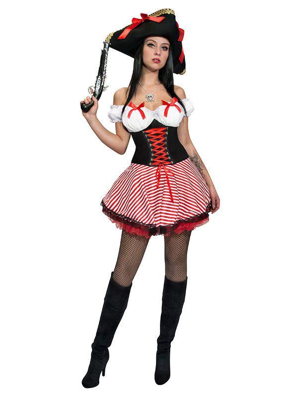 piratin damenkost m mit schleifen rot schwarz aus unserer kategorie piratenkost me die. Black Bedroom Furniture Sets. Home Design Ideas