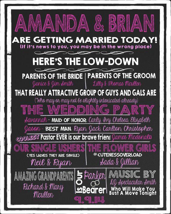 funny unique wedding program modern twist on by customprintablesny