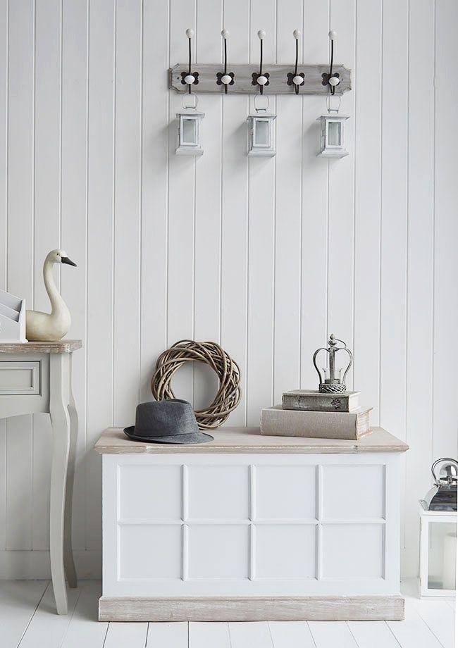 Vermont White Hallway Storage Bench For Hall Furniture