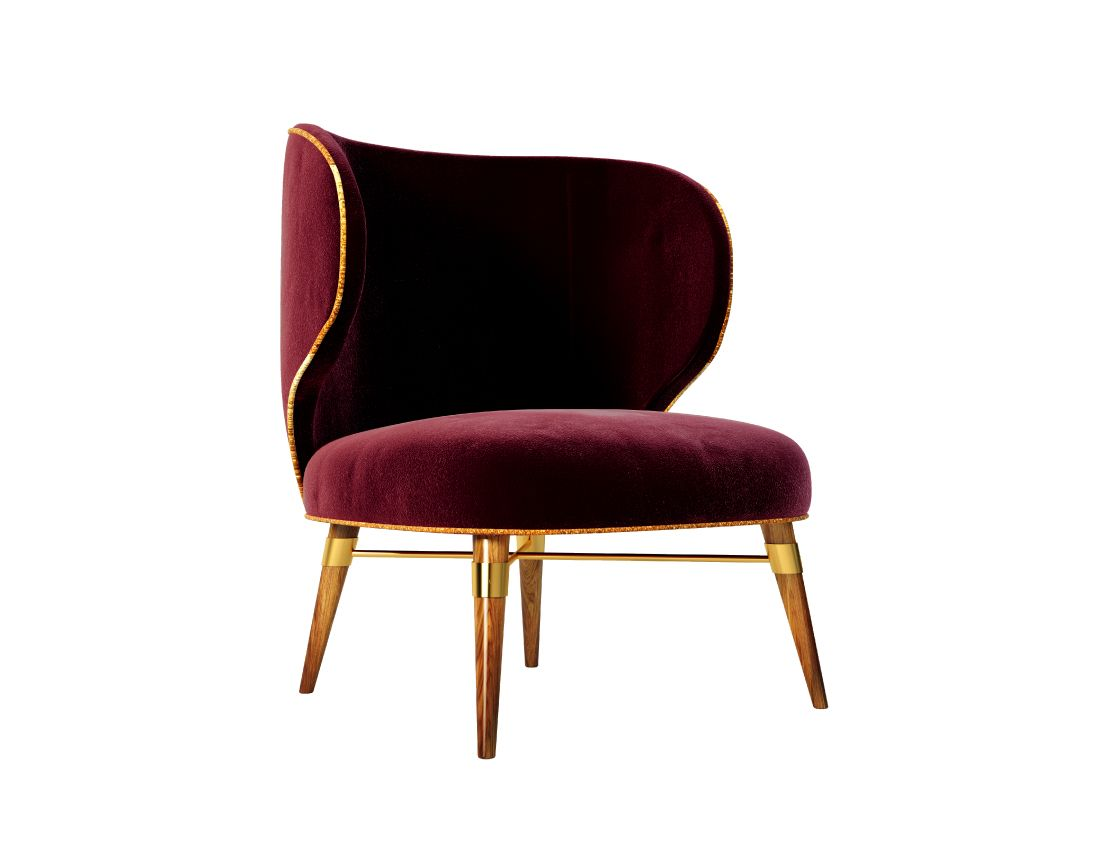 Modern classic armchair - With Burgundy Velvet And A Contrasting Golden Cord A Classic Design Radiates From This Chair S