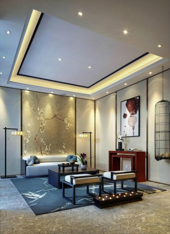 Modern Chinese Style Sitting Room Dark Wood Cream And Metallic Accents Chinese Style Interior Modern Chinese Interior Asian Home Decor