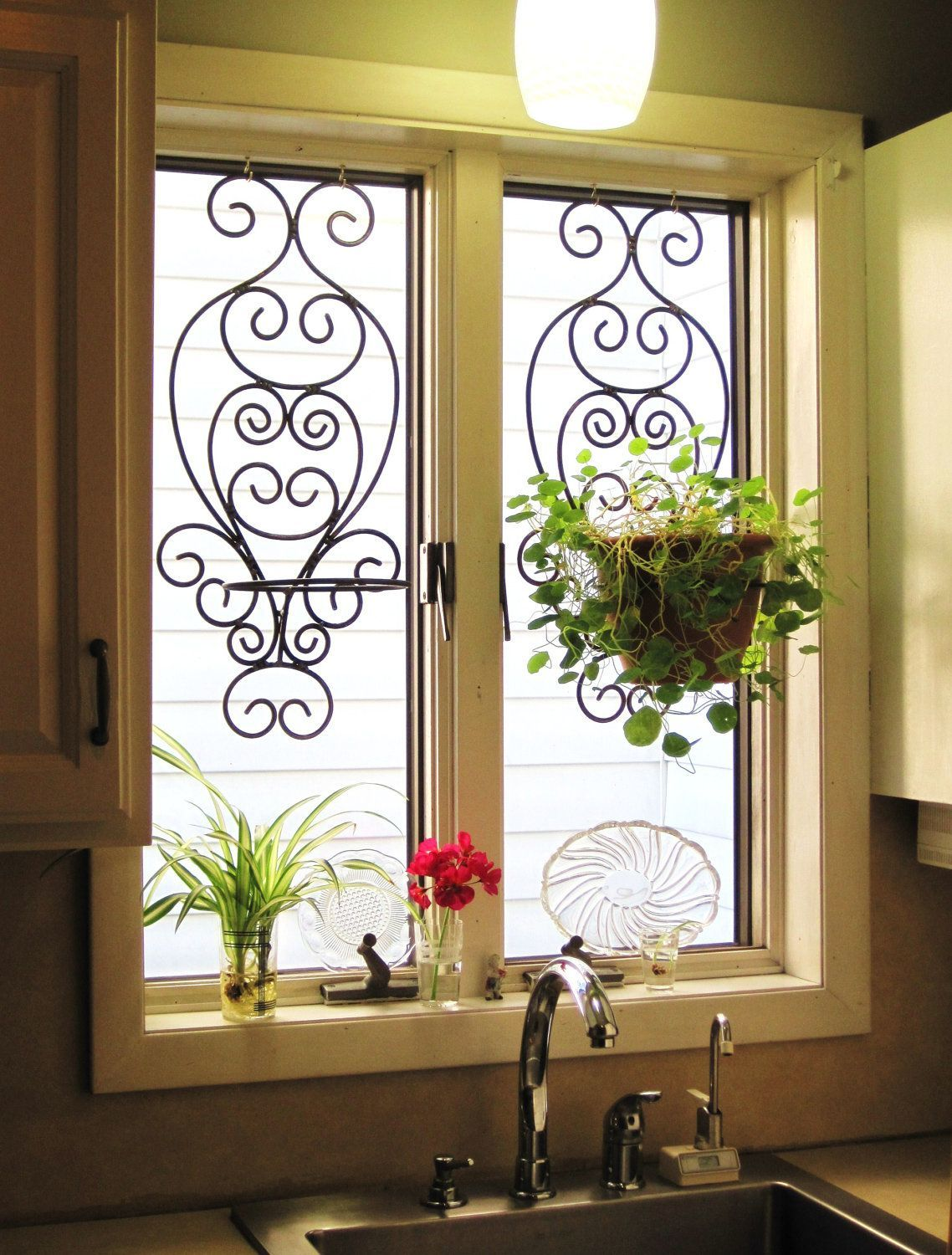 Kitchen Window Treatments Over Sink Dark Cabinets