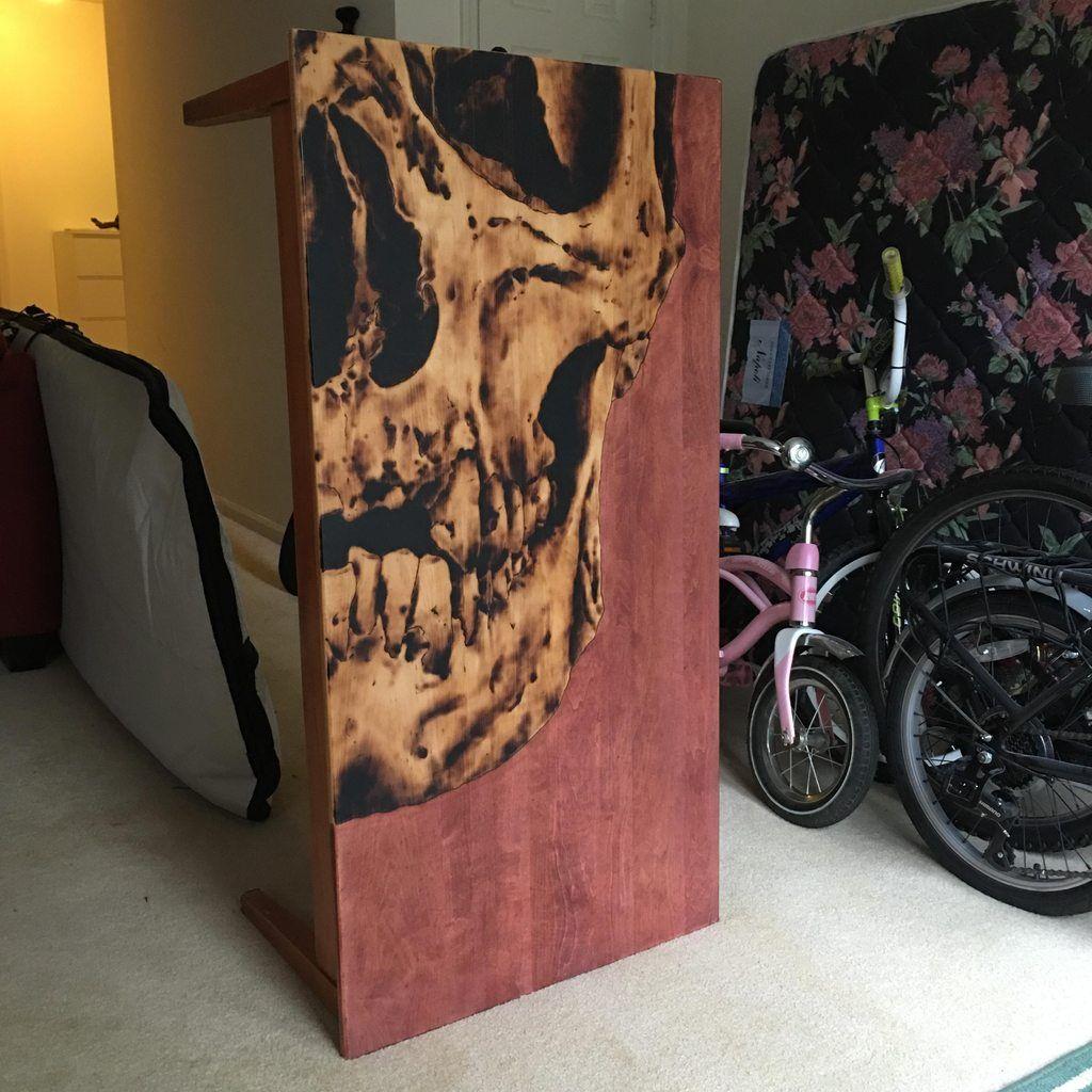 Skull Woodburning On Coffee Table Skull Furniture Goth Home Decor Decor [ 1024 x 1024 Pixel ]
