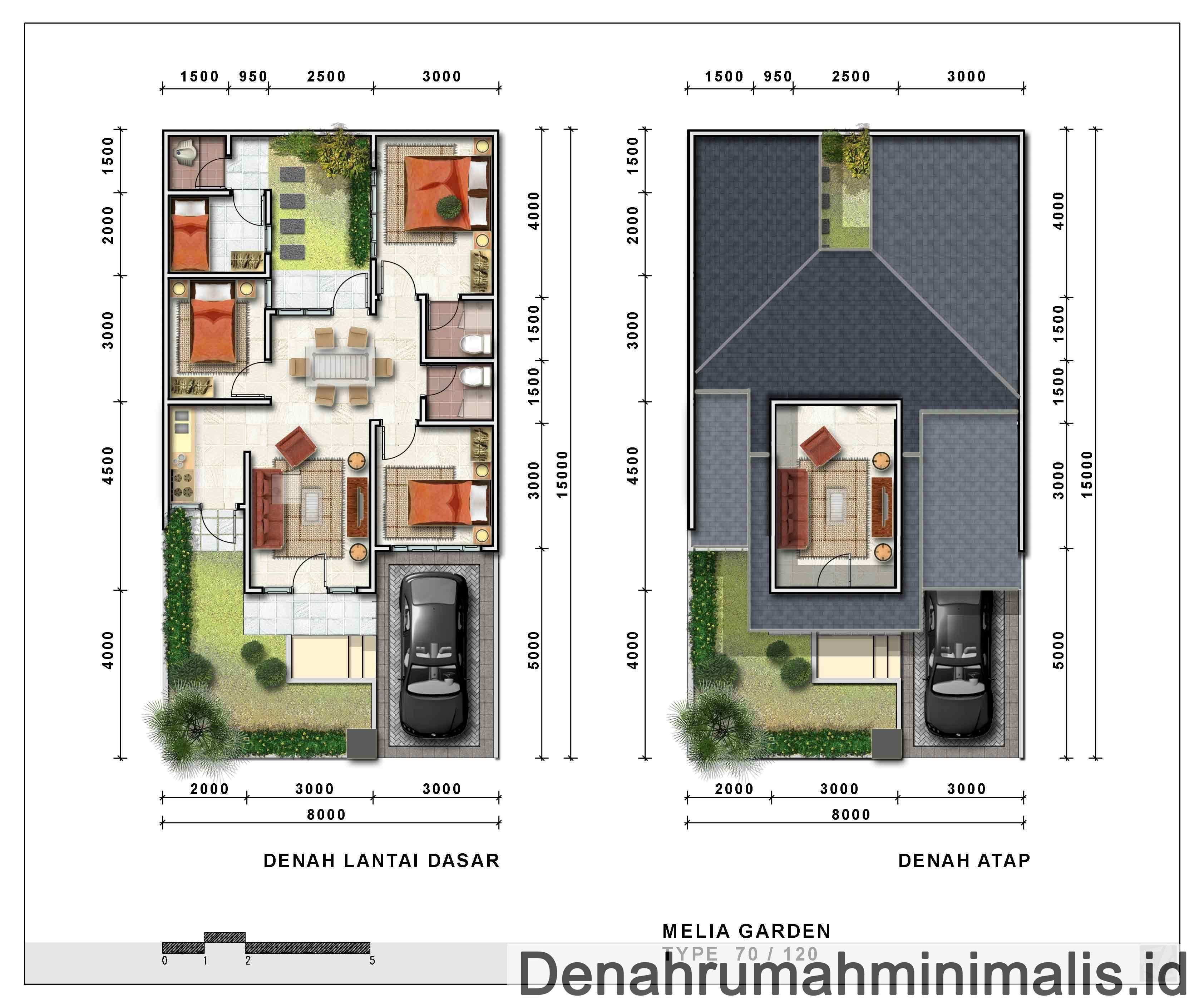 Denah Rumah Minimalis Type 70 1 Lantai Rumah Modern Pinterest