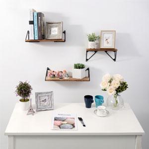 Amazon Com Bayka Floating Shelves Wall Mounted Set Of 3 Rustic