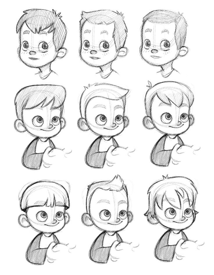 How to draw a cartoon face boy