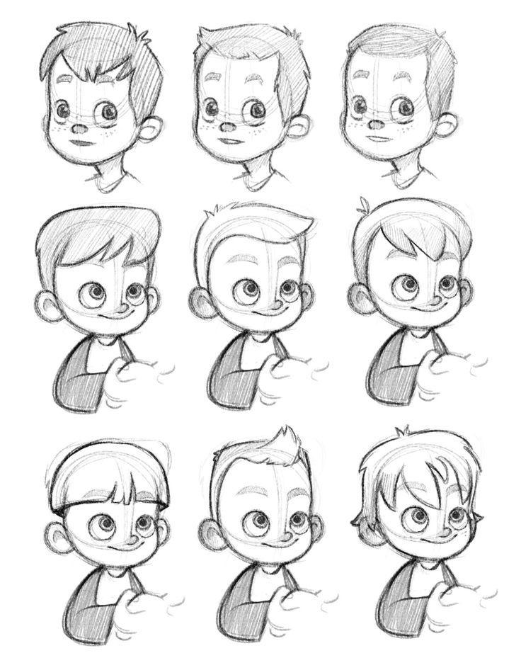 draw kid face pixar