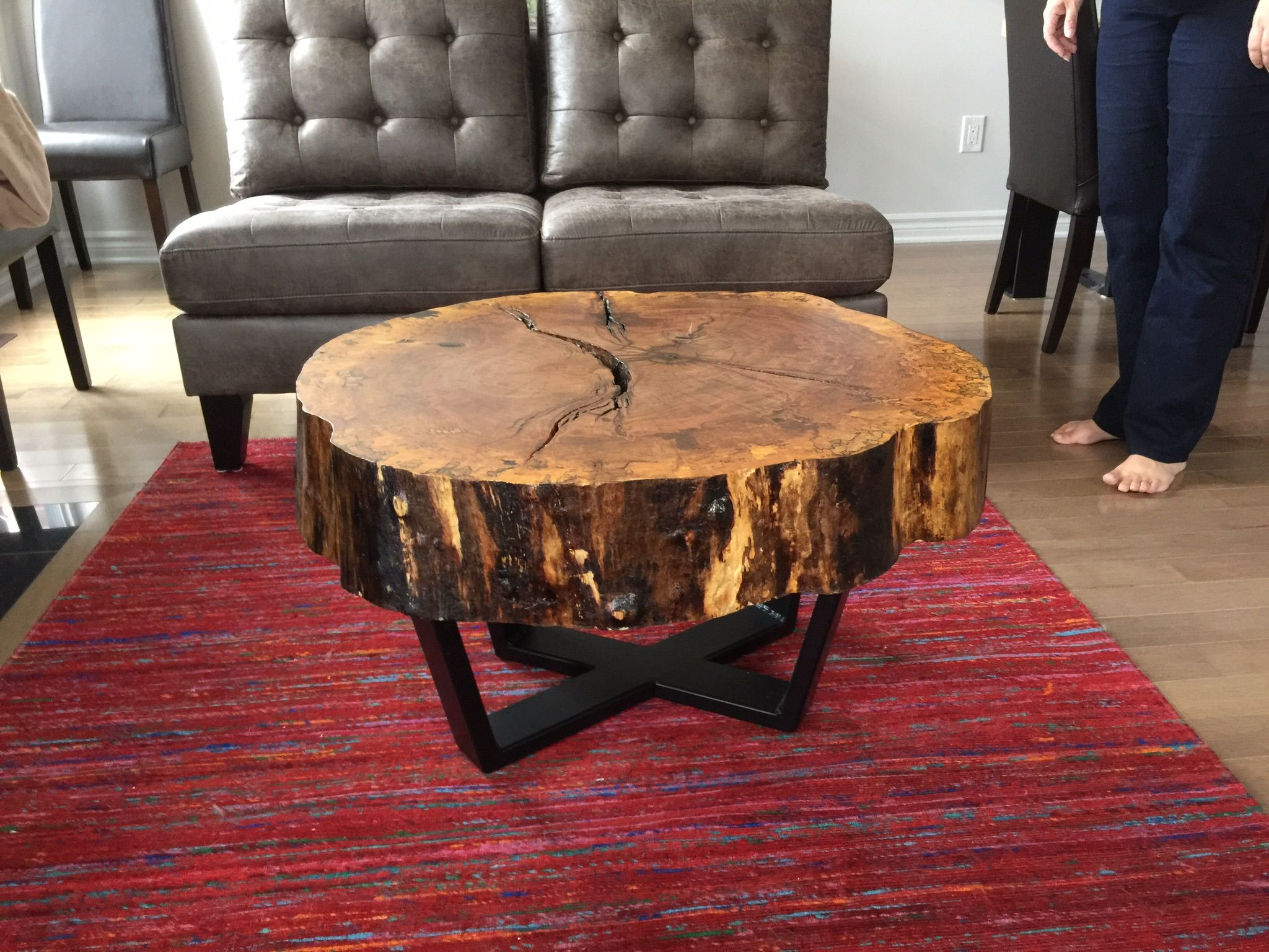 Live Edge Maple Cookie Coffee Table With Steel Base Maple Dining Table Table Coffee Table [ 1536 x 2048 Pixel ]