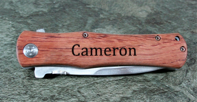 Pocket Knives - Laser Engraved 4 1/2 inch Wood Handle Pocket Knife -  Great for Groomsmen, Usher's, Father's, Dad by DakotaExpressions1 on Etsy