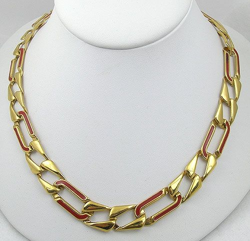 Monet Red Enameled Gold Chain Necklace Garden Party Collection