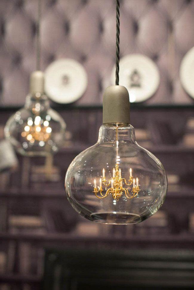 Tiny chandelier inside a lamp | Lightbulb, Pendant lamps and Bulbs